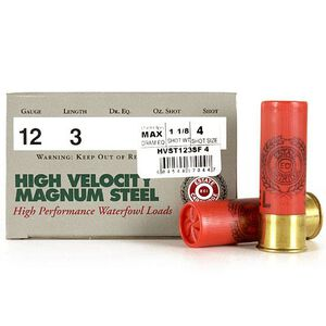 "Estate High Velocity 12 Ga 3"" #4 Steel 1.125oz 250 Rounds"