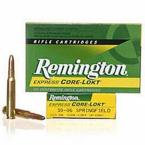 Remington Express .30-06 Springfield Ammunition 20 Rounds 220 Grain Core-Lokt Soft Point Projectile 2410fps