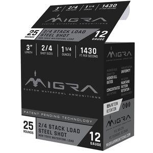 """Migra Ammunition 12 Gauge 3"""" #2/4 Steel Shot 1-1/4 oz 1430 fps"""