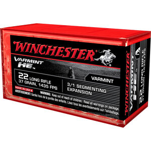 Winchester Varmint HE .22LR Ammunition 50 Rounds 37 Grain Fragmenting HP 1435 fps