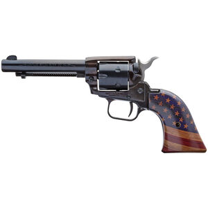 """Heritage Manufacturing Inc. Rough Rider .22 LR Revolver 4-3/4"""" Barrel 6 Rounds Fixed Sights American Flag Grips Black Finish"""