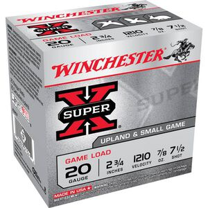 """Winchester Super X Game Load 20 Gauge Ammunition 250 Rounds 2.75"""" #7.5 Lead 7/8 Ounce XU207"""