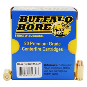 Buffalo Bore .45 ACP +P Ammunition 20 Rounds FMJ FN 230 Grain 45-230 FMJ/20