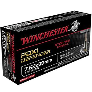 Winchester PDX1 Defender 7.62x39mm Ammunition 120 Grain Split Core Hollow Point 2365 fps