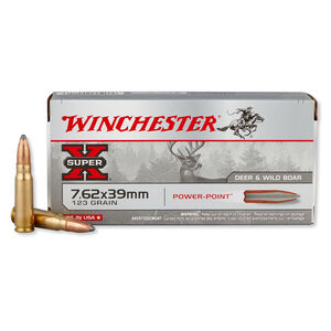 Winchester Super-X 7.62x39mm Ammunition 123 Grain Power-Point JSP 2365 fps