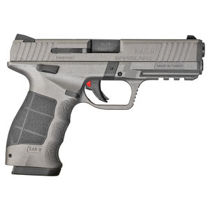 "Sarsilmaz USA SAR 9 Semi Auto Pistol 9mm Luger 4.4"" Barrel 17 Rounds Fixed Sights Striker Fired Accessory Rail Polymer Frame Platinum Finish"
