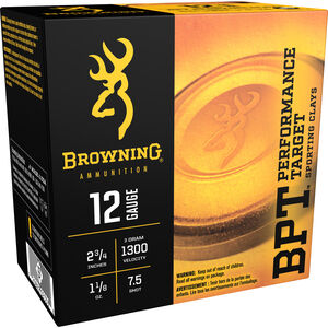 "Browning BPT Sporting 12 Gauge Ammunition 25 Rounds 2.75"" #7.5 Lead 1.125 Ounce B193631227"