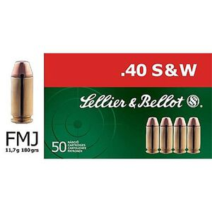 Sellier & Bellot .40 S&W Ammunition 50 Rounds FMJ 180 Grains SB40B