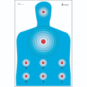"""Action Target High Visibility Fluorescent Modified B-27 Target 23"""" x 35"""" Blue Red Black 100 Pack"""