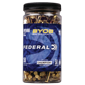 Federal Champion BYOB .22 WMR Ammunition 250 Rounds 50 Grain Copper Plated Hollow Point 1530fps