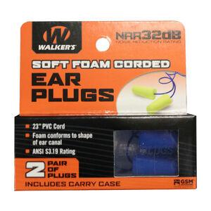 Walker's Corded Foam Ear Plugs with Plastic Case 2 Pairs Neon Yellow