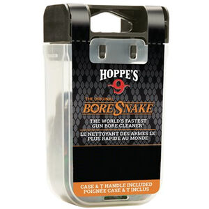 Hoppe's No. 9 Boresnake Snake Den 9mm/.380/.38/.357 Caliber Pistol Length Pull Thru Bore Cleaning Rope with Bronze Brush and Carry Case with Pull Handle Lid