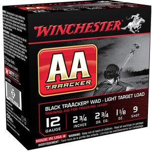 "Winchester USA AA TrAAcker Wad Light Target Load 12 Gauge Ammunition Black Wad 2-3/4"" #9 Lead Shot 1-1/8 oz 1145 fps"