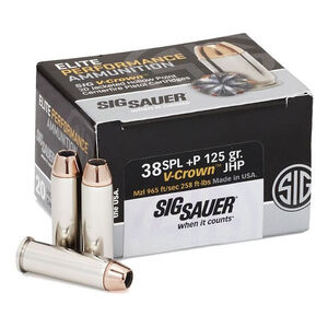 SIG Sauer V-Crown .38 Special+P Ammunition, 20 Rounds, JHP, 125 Grains