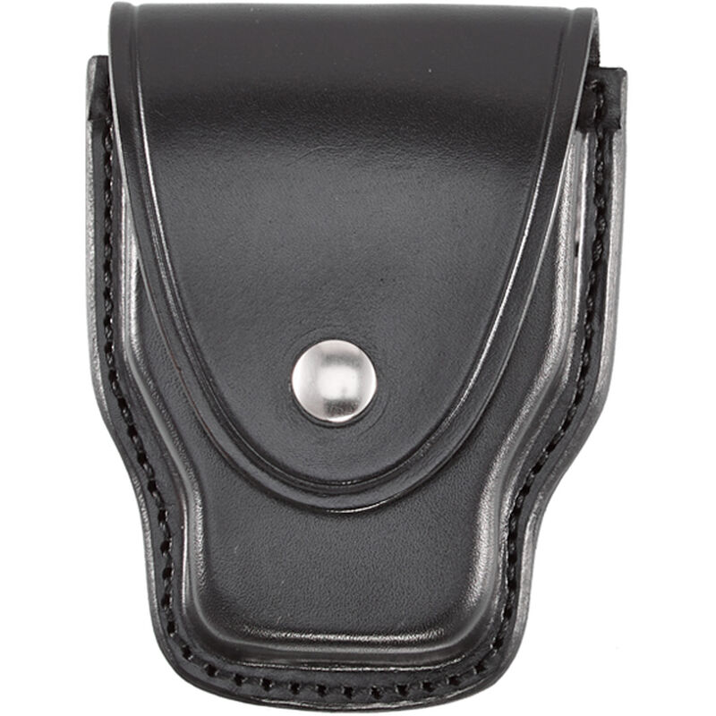 """Aker Leather Handcuff Case for Standard Handcuffs Nickel Plated Brass Snap Closure Dual Belt Slots Fits 2.25"""" Belts Plain Black A508-BP"""