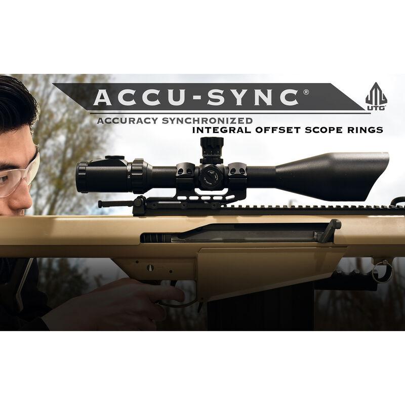 UTG ACCU-SYNC 30mm Medium Profile 34mm Offset Pic. Rings, FDE
