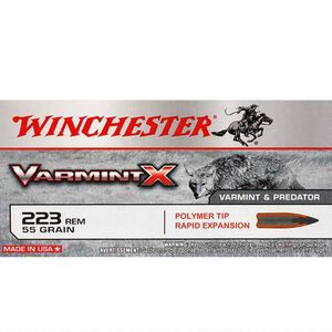 Winchester Varmint X .223 Rem Ammunition 55 Grain Polymer Tip Bullet 3240 fps