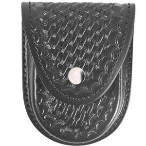Gould & Goodrich Round Bottom Handcuff Case Leather Nickel Snap Basket Weave Black Finish B580W