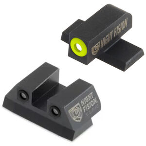 Night Fision Perfect Dot Tritium Night Sight Set SIG Sauer P-Series Pistols with #6 Front/#8 Rear Green Tritium Front/Rear Yellow Front Ring Square Notch Rear with No Ring Metal Body Black Nitride Finish