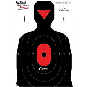 """Caldwell Shooting Supplies Silhouette Dual Zone Paper Target Black and Red 12""""x18"""" 8 Pack 308214"""