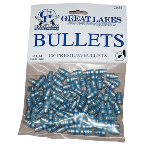 "Great Lakes Bullets and Ammunition .38 Caliber .358"" Diameter 158 Grain Cast Lead Semi Wadcutter Bullets 100 Pack B688471"