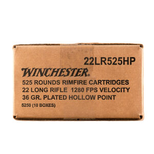 Winchester .22LR Ammunition 36 Grain Copper Plated Hollow Point 1280 fps 222 Rounds
