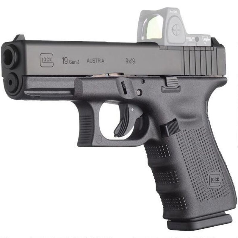 "GLOCK 19 MOS Gen4 9mm Semi Auto Pistol 4.01"" Barrel 15 Rounds Black"