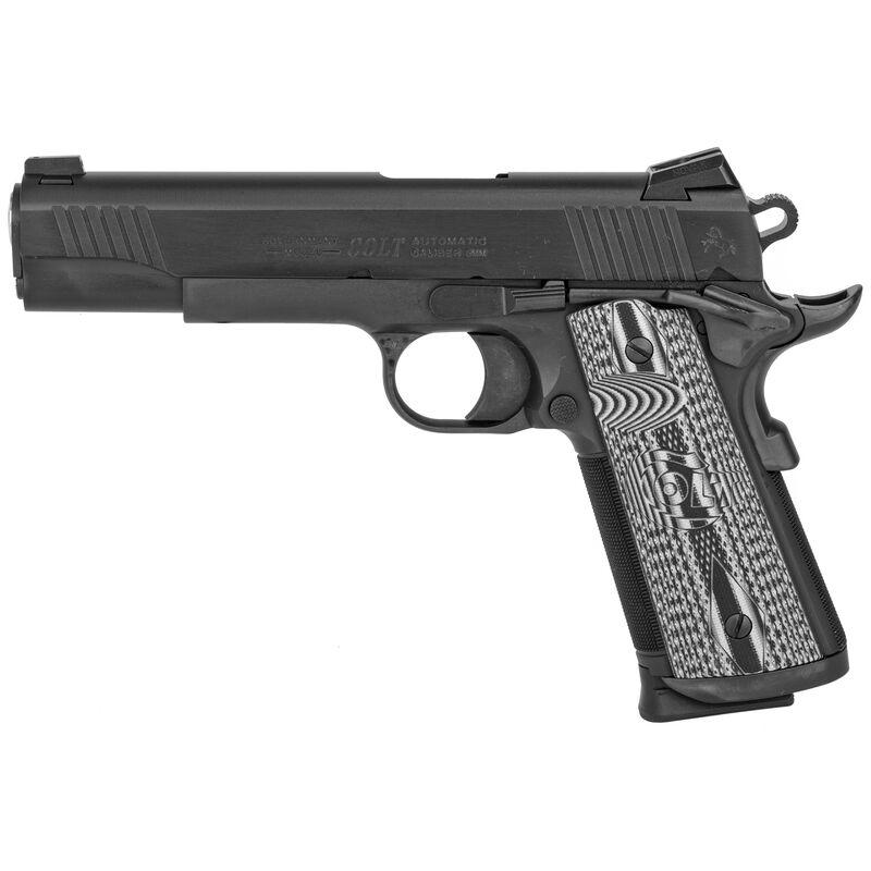"Colt Combat Unit 1911 Government Model 9mm Luger Semi Auto Pistol 5"" Barrel 9 Round Novak Sights G10 Gray Scallop Grips PVD Black Finish"