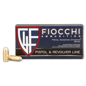 Fiocchi Pistol Shooting Dynamics .380 ACP Ammunition 95 Grain FMJ 960 fps 50 Rounds