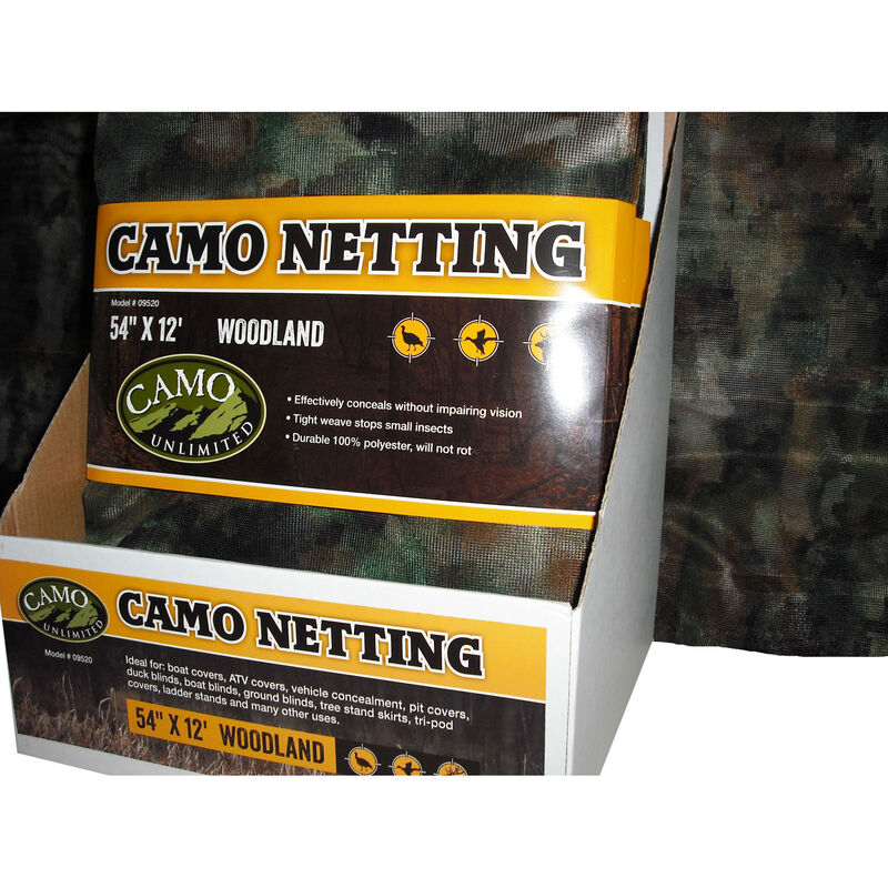"Camo Unlimited Poly Netting 54""x12' Woodland Camo Fabric"