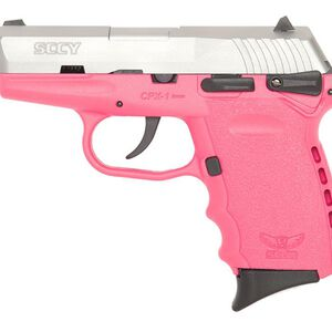 """SCCY Industries CPX-2 Semi Auto Pistol 9mm Luger 3.1"""" Barrel 10 Rounds Pink Polymer Frame with Satin Stainless Steel Finish CPX-2TTPK"""