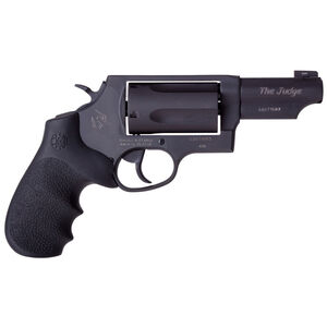 "Taurus Judge .45 Long Colt/.410 Bore Double Action Revolver 3"" Barrel 2.5"" Chamber 5 Rounds Ameriglo Night Sight Hogue Grip Matte Black Oxide Finish"