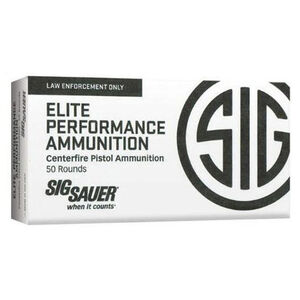 SIG Sauer Elite Performance V-Crown Ammunition 50 Rounds .40 S&W 165 Grain V-Crown Jacketed Hollow Point Projectile 1090fps