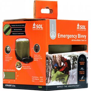 SOL Emergency Bivvy with Rescue Whistle and Tinder Cord Drawstring