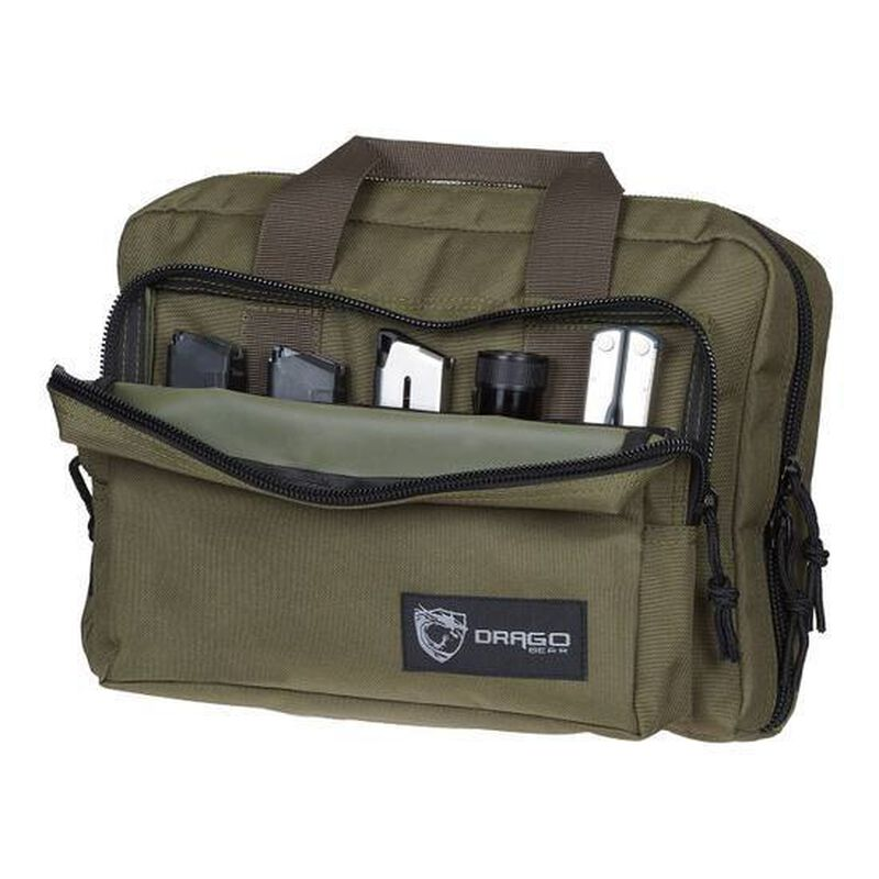 "Drago Gear Heavy Duty Double Pistol Case Dual Padded Compartments Five Internal Magazine Holders 12.5""x9.5""x4.5"" Green 12315GR"
