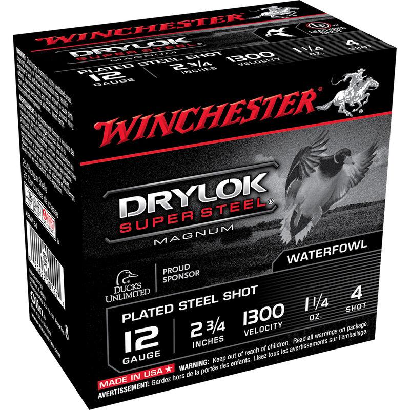 "Winchester Drylok Super Steel 12 Gauge Ammunition 250 Rounds 2-3/4"" Shell #4   Steel Shot 1-1/4 oz 1300 fps"