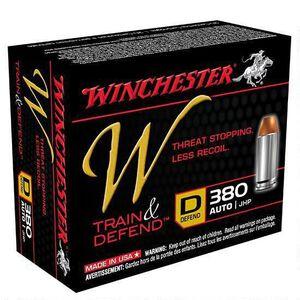 Winchester W Train and Defend .380 ACP Ammunition 95 Grain JHP 950 fps