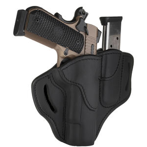 """1791 Gunleather Open Top BH1M1 Multi-Fit OWB Holster With Built in Magazine Pouch for 5"""" 1911 Semi Auto Models Right Hand Draw Leather Stealth Black"""