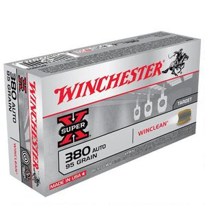 Winchester Winclean .380 ACP Ammunition 50 Rounds, BEB, 95 Grains