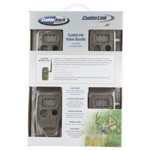 CuddeLink Long Range IR Trail Cameras IR LEDs 5MP or 20 MP Images 12 AA Batteries ID Bar Day and Night Mode Brown Finish 4 Pack