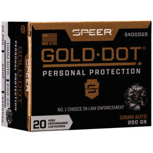Speer Gold Dot Personal Protection 10mm Auto Ammunition 20 Rounds 200 Grain GDHP 1100fps