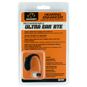 Walker Rechargeable Ultra Ear BTE Hearing Enhancer dB 22 Rechargeable Black