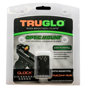 TruGlo Pistol Red Dot Sight Mount Plate Fits GLOCK Rear Sight Dovetail Trijicon RMR Steel Black