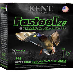 "Kent Cartridge Fasteel 2.0 Waterfowl 12 Gauge Ammunition 3-1/2"" Shell BBB Zinc-Plated Steel Shot 1-3/8oz 1550fps"
