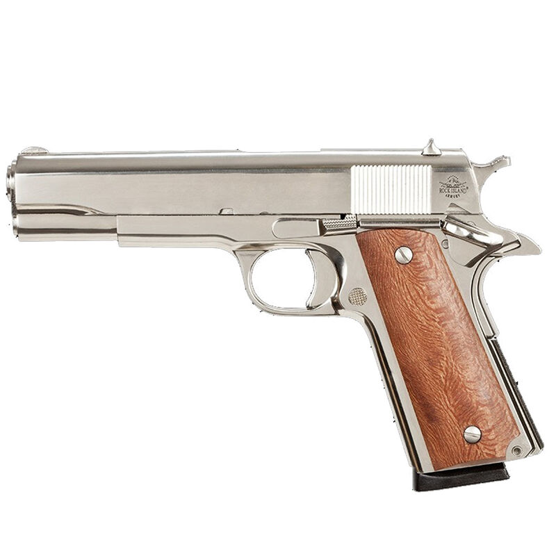 "Rock Island Armory G1 Series Standard Full Size 1911 Semi Auto Pistol .45 ACP 5"" Barrel 8 Rounds Fixed Sights Wood Grips High Polish Nickel Slide/Frame"