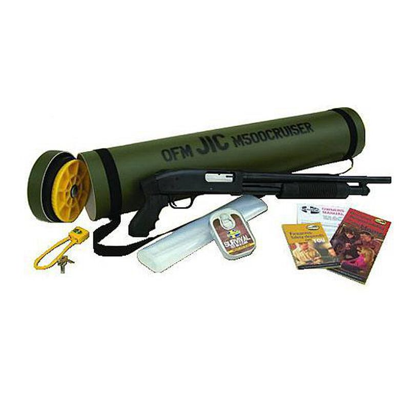 "Mossberg 500 J.I.C. Cruiser Pump Shotgun 12 Gauge 18.5"" Barrel 6 Rounds 3"" Chamber Synthetic Pistol Grip Blued Finish with Green Storage Tube  51340"
