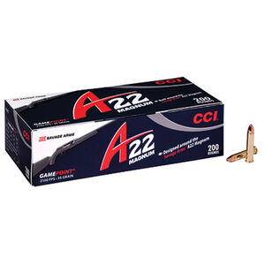 CCI A22 Gamepoint .22 WMR Ammunition 200 Rounds Jacketed Soft Point 35 Grains 963CC