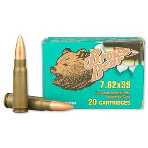 Brown Bear 7.62x39mm Full Metal Jacket Lacquer Coated Steel Case, 123 Grain, 2401 fps, 500 Round Case, AB762FMJ
