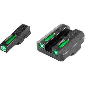 TruGlo TFX Standard Height CZ 75 Series Front/Rear Day/Night Sight Set Green Tritium 3-Dot Configuration Front White Focus Lock Ring Square Cut Rear Notch Steel Black