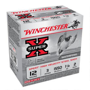 "Winchester Super X 12 Gauge Ammunition 25 Rounds 3"" #2 Steel WEX1232"